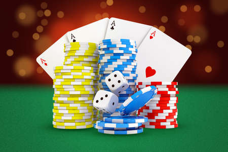 3d rendering of gaming cards, stacks of casino chips and dice stand on green felt background. Stock Photo