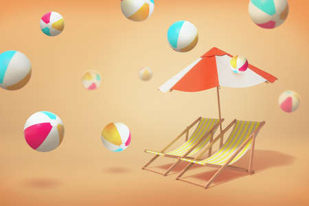 3d rendering of two beach chair lounges standing under an umbrella on a yellow background with many inflated balls jumping around.