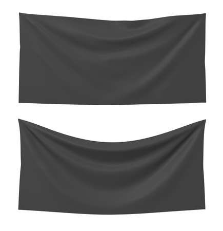 3d rendering of two black rectangle flags, one straight and another hanging down on a white background.