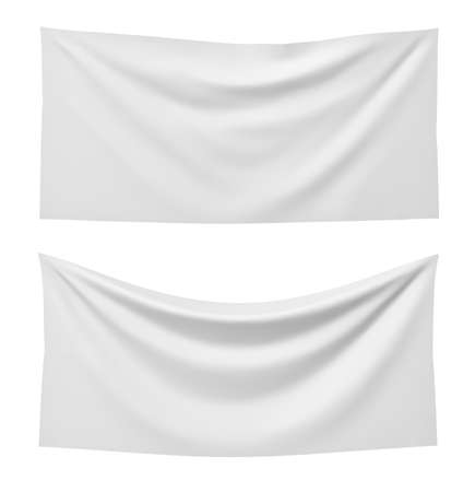 3d rendering of two white rectangle flags, one straight and another hanging down on a white background. Banque d'images