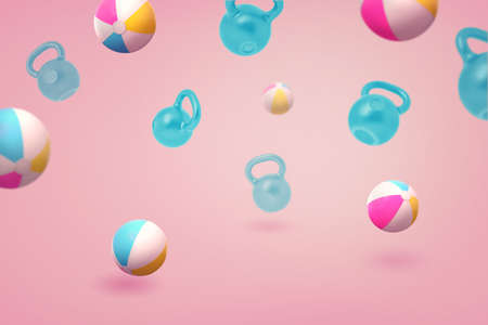 3d rendering of many colorful beach balls and blue kettlebells flying on a pink background. Stock fotó