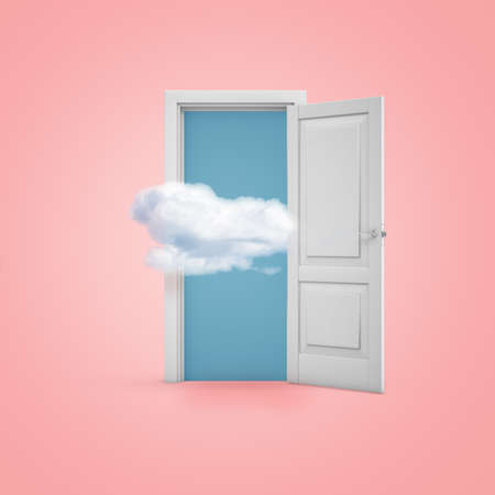 3d rendering of a white open doorway with a cloud on light pink background Stock Photo