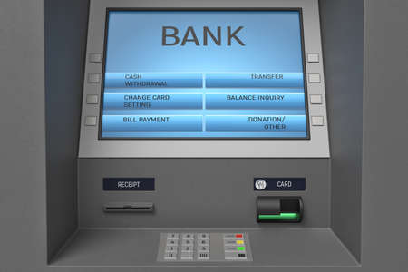 3d rendering of an ATM machine with its screen and button panel in a close view.