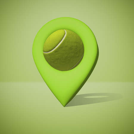 3d rendering of geotag with tennis ball instead of seed on green background