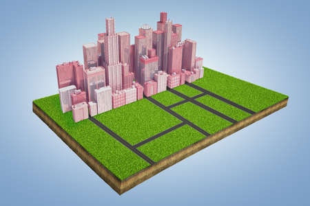 3d rendering of a model of a land plot with a cluster of tall business buildings standing near an intersection of roads.