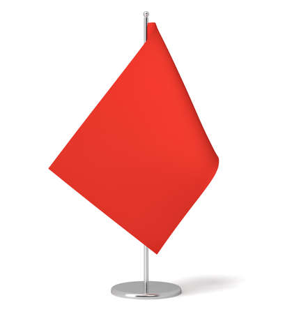 3d rendering of a small red rectangular flag on a table post standing on white background. Stock Photo