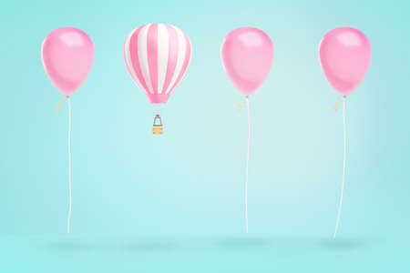 3d rendering of hot air balloons hovering in a line of identical pink party balloons on a blue background. Archivio Fotografico