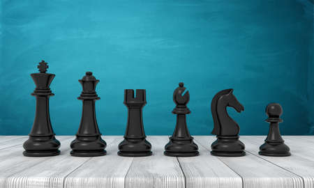 3d rendering of a full set of black chess figurines from the kind to the pawn standing in line on a wooden table. Foto de archivo