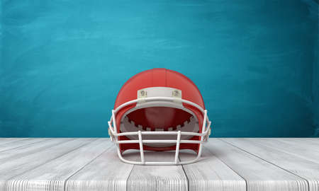 3d rendering of an American football helmet lying on a wooden desk background with a blue wall.