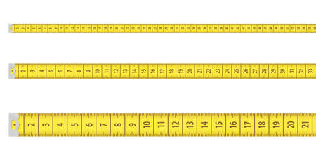 3d renedring of three straight lines of yellow measurement tapes with two of them further away in the perspective isolated on a white background. Stock Photo