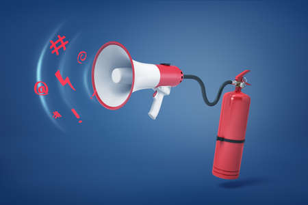 3d rendering of a red fire extinguisher with a hose attached to a megaphone with strange sounds flying out of it.