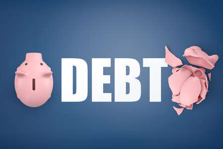 3d rendering of large word Debt standing between one whole piggy bank and one crashed into pieces. 免版税图像