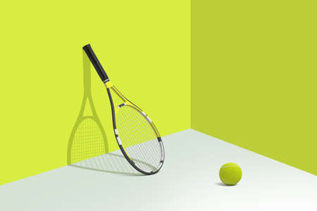 3d rendering of tennis racquet stands leaning on a bright yellow wall with a ball lying on a white floor nearby.