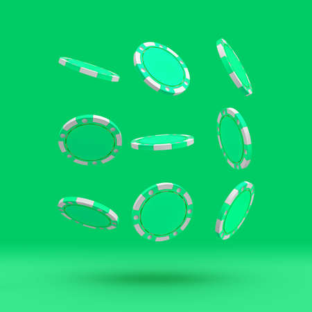 3d rendering of a set of several green casino chips randomly flying on a green background.