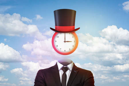 3d rendering of clock used like a head wearing a magicians hat, both hanging above an empty businessmans suit.