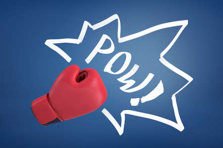 3d rendering of a red boxing glove with the word POW on a blue background. Фото со стока
