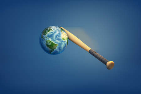 3d rendering of the earths being hit by a baseball bat.