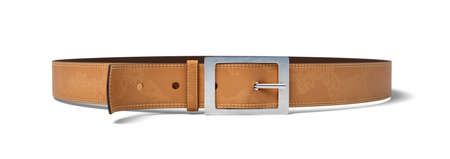 3d rendering of a buckled brown leather belt lying on a white background.