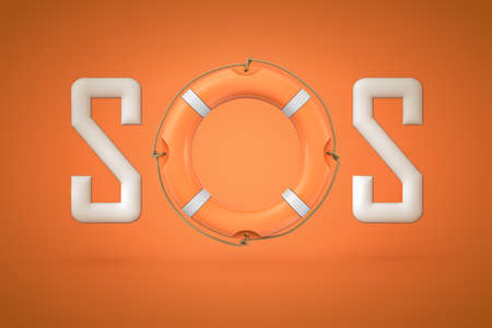 3d rendering of the word SOS with an orange lifebuoy instead of letter O.