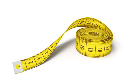 3d rendering of a roll of a yellow measuring tape on a white background.