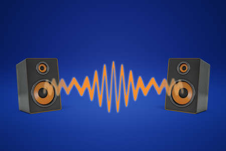 3d rendering of two music speakers near each other and sharing one orange sound wave between them. Stock Photo