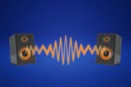 Rendu 3D de deux haut-parleurs proches l'un de l'autre et partageant une onde sonore orange entre eux.
