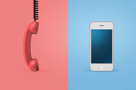 3d rendering of an old-fashioned telephone receiver on a pink background and of a modern mobile phone on a blue background.