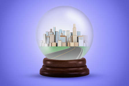 3d rendering of a crystal ball with a road leading to a city in it.