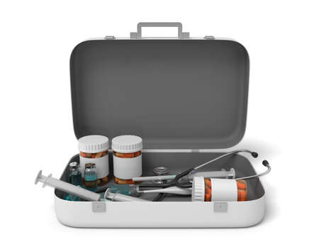 3d rendering of opened first aid medical box with pills jars and medical devices isolated on white background