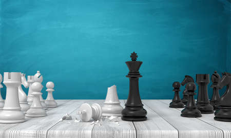 3d rendering of two sets of chess figures standing on a wooden desk where a black kind stands near a broken white one.