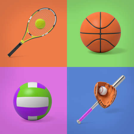 3d rendering of tennis set, basketball ball, volleyball ball and baseball set on four colour background Stock Photo