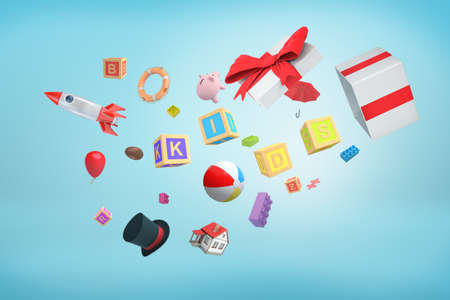 3d rendering of a bunch of miscellaneous objects that have just been thrown out of a present box.