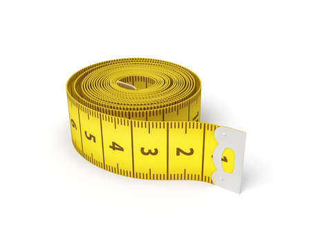 3d rendering of a yellow flexible sewing tape measure in a complete unwound state on a white background. Banque d'images - 114369638