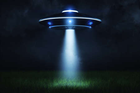 3d rendering of a UFO at night with a beam of light coming out of the hatch and lighting a landing point in the green grass.