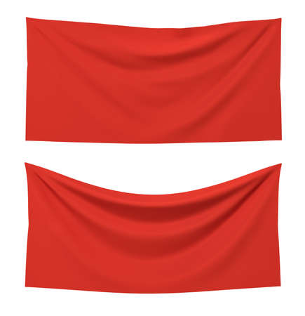 3d rendering of two red rectangle flags, one straight and another hanging down on a white background.