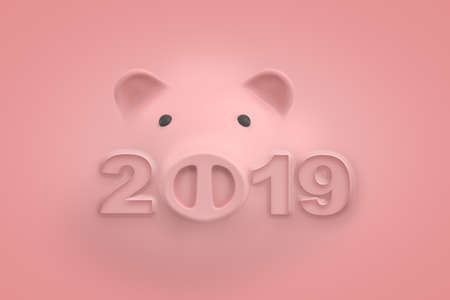 3d rendering of a light-pink piggy bank face and the title 2019 where zero is replaced with piggy snout, all standing out from background of the same color.