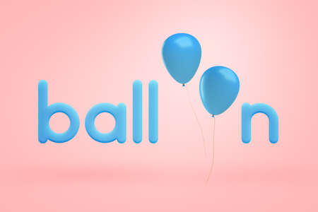 3d rendering of blue lowercase letters making up the word balloon with two blue balloons instead of letters O on a light-pink background. Imagens