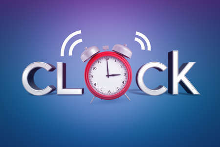 3d rendering of the word clock with a red alarm clock going off instead of letter O on blue background. Imagens - 114370327