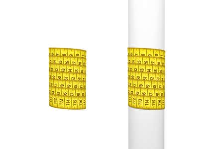 3d rendering of two measure tapes, one wound around a white post and another around empty space.