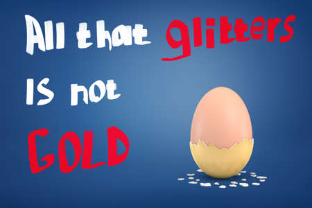 3d rendering of an egg with coat of dry golden paint half-fallen off with the title All that glitters is not gold. Banque d'images - 114370734