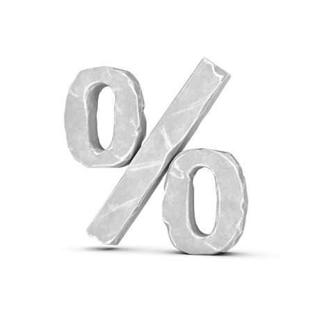3d rendering of a percent sign made of chapped light-grey marble-like material on a white background.