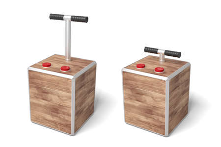 3d rendering of two tnt detonator boxes isolated on white background