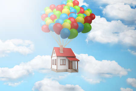 3d rendering of a house lifted up in the air by a large bundle of balloons against blue sky with white clouds. Stock Photo
