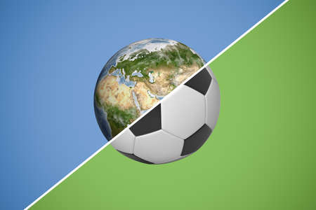 3d rendering of half earth half football ball on double color background Imagens
