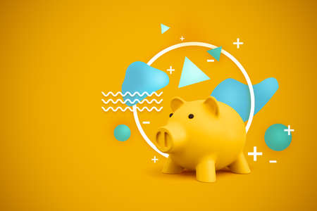 3d rendering of a yellow piggy bank with miscellaneous shapes behind it on a yellow background. Stock Photo