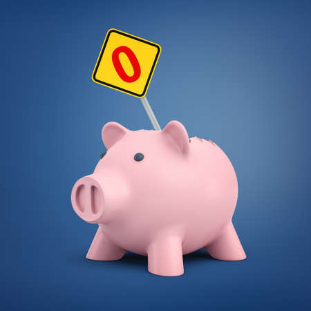 3d rendering of a broken pink piggy bank with a small road sign sticking out from its back showing a red zero number.