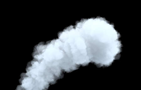3d rendering of thick smoke cloud on black background