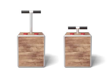 3d rendering of two wooden detonator boxes on white background. Imagens