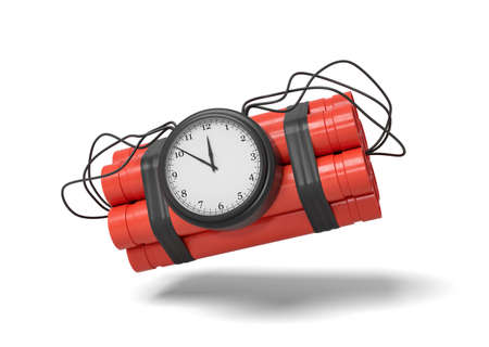 3d rendering of a bundle of dynamite sticks with a clock attached to the side of it on a white background.
