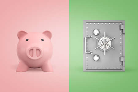 3d rendering of a cute piggy bank on pink background and of a safe on light-green background. Banco de Imagens